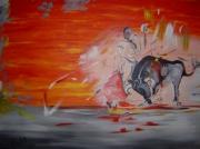 tableau scene de genre corrida taureau homme expression : Corrida