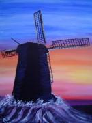 tableau paysages moulin vent coucher de soleil : Moulin a Vent