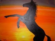 tableau animaux coucher soleil cheval noir : Black Horse