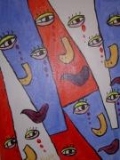 tableau abstrait couleur larme joie : Visage en Pleure