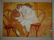 tableau personnages amour bistro : amoureux au bistro