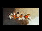 tableau abstrait abstrait beige peinture orange : Evasion