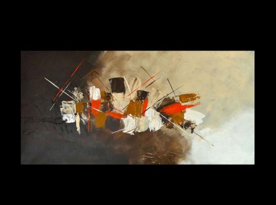 TABLEAU PEINTURE abstrait beige peinture orange Abstrait Acrylique  - Evasion