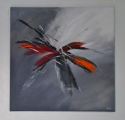 tableau abstrait abstrait gris noir peinture : Le retour