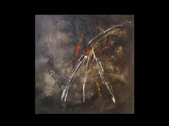 TABLEAU PEINTURE brun moselle abstrait acrylique Abstrait Acrylique  - Enigme