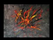 tableau abstrait noir orange abstrait : Allégresse