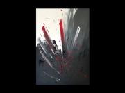 tableau abstrait abstrait rouge gris peinture : Jaillissement
