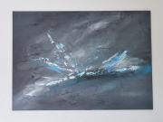 tableau abstrait abstrait gris bleu peinture : Ricochet