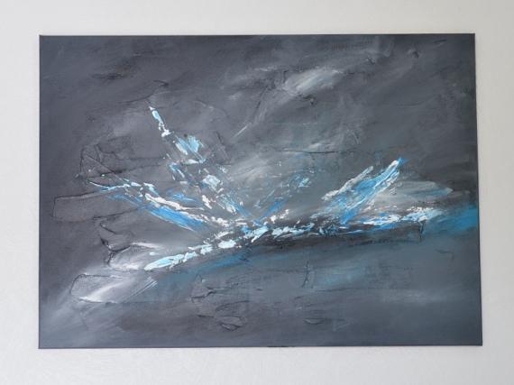 TABLEAU PEINTURE abstrait gris bleu peinture Abstrait Acrylique  - Ricochet