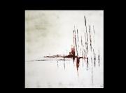 tableau abstrait blanc rouge noir : Aurore