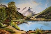tableau paysages montagne lac : Montagne