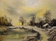 tableau paysages menard hiver paysage peinture : Hiver glacial