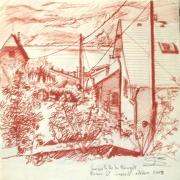 dessin : Vue sur le lac du Bourget