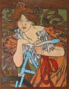 tableau personnages mucha bicyclette pyrogravure : La dame à la bicyclette