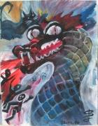 tableau animaux dragon gouache sandrine laurent anzart : Réaction face à l'injustice