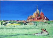 tableau paysages mont st michel couleur abstrait : le mont st michel