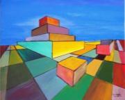 tableau abstrait geometrie perpective urbanisme : isologie