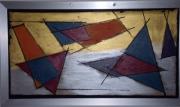 painting abstrait verre porte geometrie kandisky : test on the glass