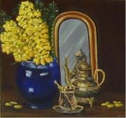 tableau nature morte vase fleurs miroir theiere : l'heure du thé