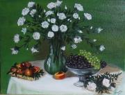 tableau nature morte vase fleurs fruits coupe : Les roses blanches