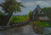 tableau paysages moulin cours d eau arbre fleurs : le moulin