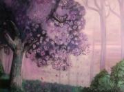 tableau paysages cerisier arbre abstrait zen : contemplation