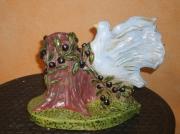 sculpture animaux bougeoir en argile colombe en argile cadeau fete des gran cadeau paques : sculpture argile colombe