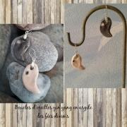 bijoux abstrait boucles d oreil bijoux en argile bijoux yin yang cadeau fete des mere : boucles d'oreille en argile
