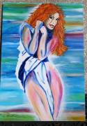 tableau personnages femme nu rousse sexy : drapé