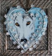 tableau animaux ardoise chien coeur levrier : ardoise