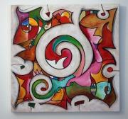 tableau abstrait puzzle paysage couleur espace : spirale montagne
