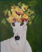 tableau animaux orchidee chien levrier fleurs : Orchidée