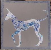 tableau animaux chien podenco fleur volutes : Arabesque
