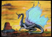tableau animaux dragon fabuleux aile feu : Dragon