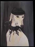 tableau levrier dentelle chapeau elegance : Minnie