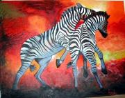tableau animaux zebre feu afrique soleil : Zèbres