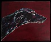tableau animaux greyhound levrier chien ami : Merlot
