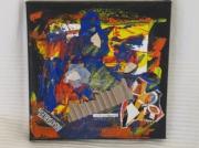 tableau abstrait artiste noir collage : bonjour l'artiste