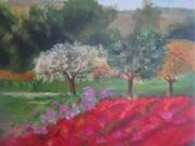 tableau paysages fleurs rouges champs paysage foret : Printemps
