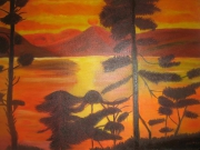 tableau paysages coucher de soleil ,c : Ciel embrasé