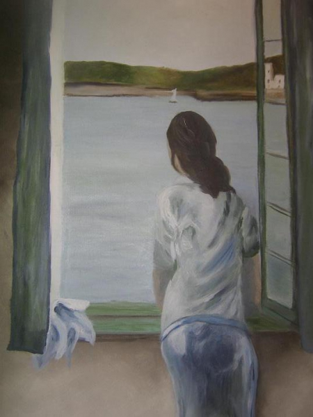 TABLEAU PEINTURE fenêtre femme eau montagne Scène de genre  - Femme à sa fenêtre