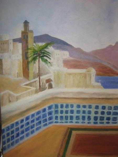 "TABLEAU PEINTURE Maroc, soleil, mer Peinture a l'huile  - ""Maroc"""