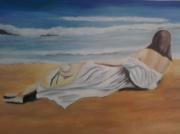 """tableau scene de genre mer vague bleu sa : """" jeune fille sur la plage"""""""