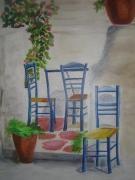 tableau scene de genre chaises ete soleil : Les chaises