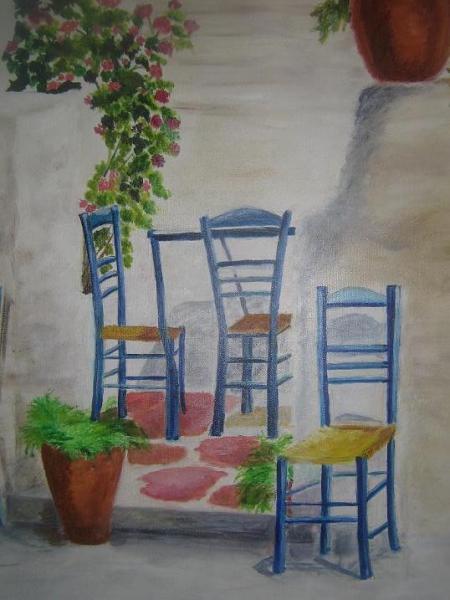 TABLEAU PEINTURE Chaises été soleil Scène de genre Peinture a l'huile  - Les chaises