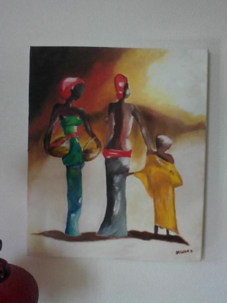 """TABLEAU PEINTURE Lumière, couleurs, f Scène de genre Peinture a l'huile  - """" Les Sénégalaises"""""""