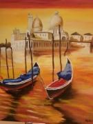 tableau paysages venise rouge coucher de soleil romantisme : Rouge Venise