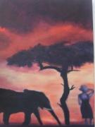 tableau paysages coucher de soleil ,c : Africa