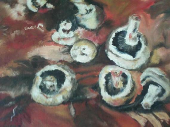 TABLEAU PEINTURE Champignons, automne Nature morte Peinture a l'huile  - Champignons