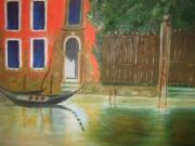 tableau paysages venise italie roug : Escapade à Venise